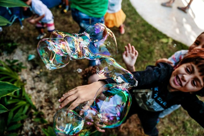 Bubble Happiness Childhood Playing Enjoyment High Angle View Multi Colored Smiling Place Of Heart
