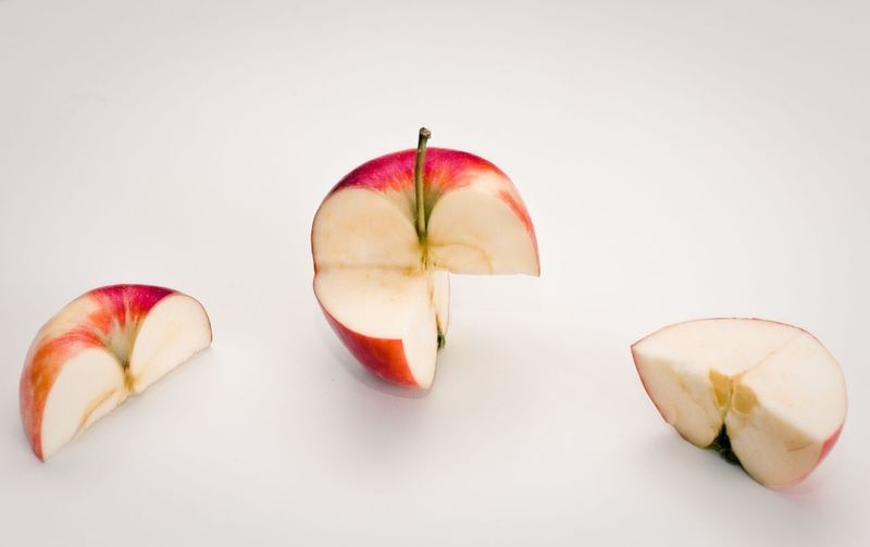 Apple Close-up Food Freshness Fruit Healthy Eating Indoors  No People Red SLICE Still Life Studio Shot White Background