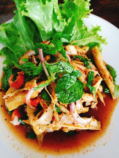 Bamboo Shoot Soup Thaifood Street Food Worldwide Vegetable High Angle View Close-up Food And Drink Salad