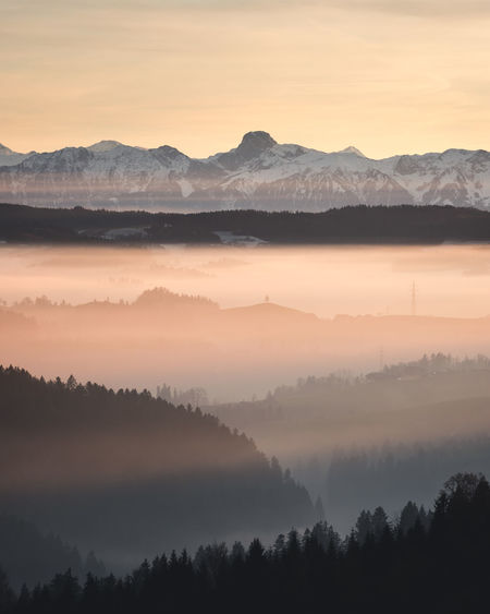Scenics - Nature Beauty In Nature Tranquil Scene Tranquility Fog Sunset Sky Mountain Tree Environment Non-urban Scene Idyllic Orange Color Silhouette No People Nature Mountain Range Hazy  Landscape Outdoors Layers Mountains Alps Emmental