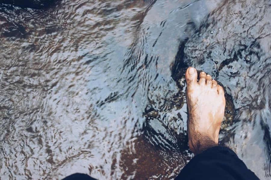 You learn a lot when you are a barefoot. The first thing is every step you take is different.... Barefoot Water Nature Mountains Hillside Travel Everystepoftheway Naturelover Naturephotography Relaxation Light Explore Goodvibes Mumbai