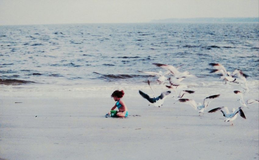 My oldest daughter at 3yrs. old at Jekyll IslandGA Enjoying Life Water Babies Hello World Summertime Life Is A Beach Children Seagulls People Ocean
