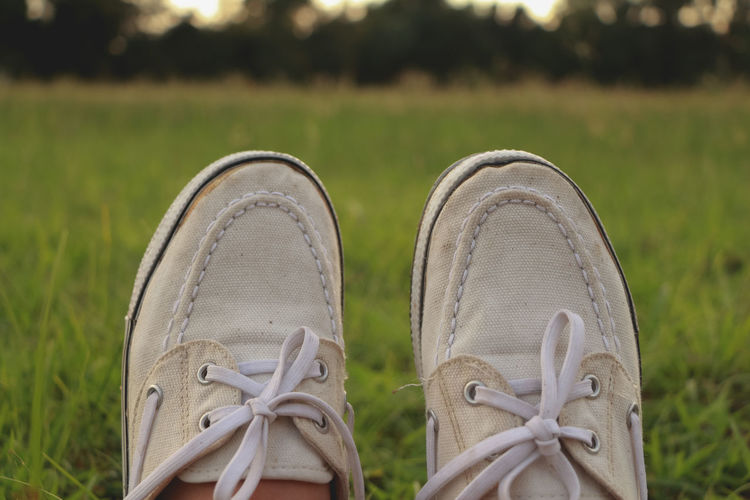 Shoe Grass Focus On Foreground Pair Shoelace Field Plant Close-up Land Canvas Shoe Green Color Nature Day Human Leg Human Body Part Lifestyles Personal Perspective Outdoors One Person Compatibility Human Foot Human Limb Lace - Fastener Personal Accessory