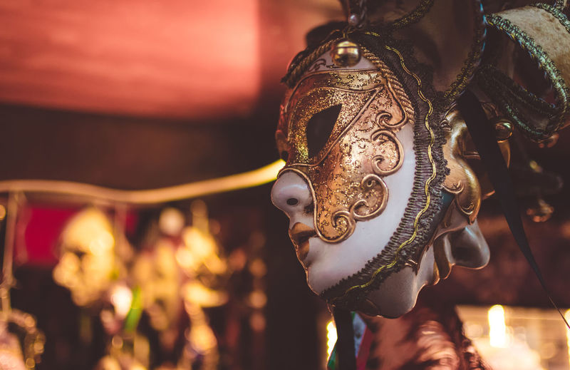Venice Carnivals Colors Venice Event Evening Celebration Lifestyles Design Outdoors Arts Culture And Entertainment Close-up Venetian Mask Carnival Carnival - Celebration Event Mask Traveling Carnival Costume Golden Gold Mythology Mask - Disguise Gilded