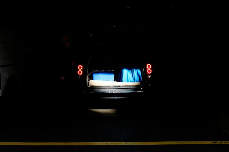 Cars on road at night