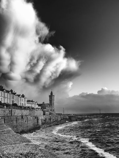 Beauty In Nature Black And White Blackandwhite Photography Cloud Cloud - Sky Coastline Cornwall Monochrome Nature Porthleven Sea Sky Tranquil Scene Water Waterfront
