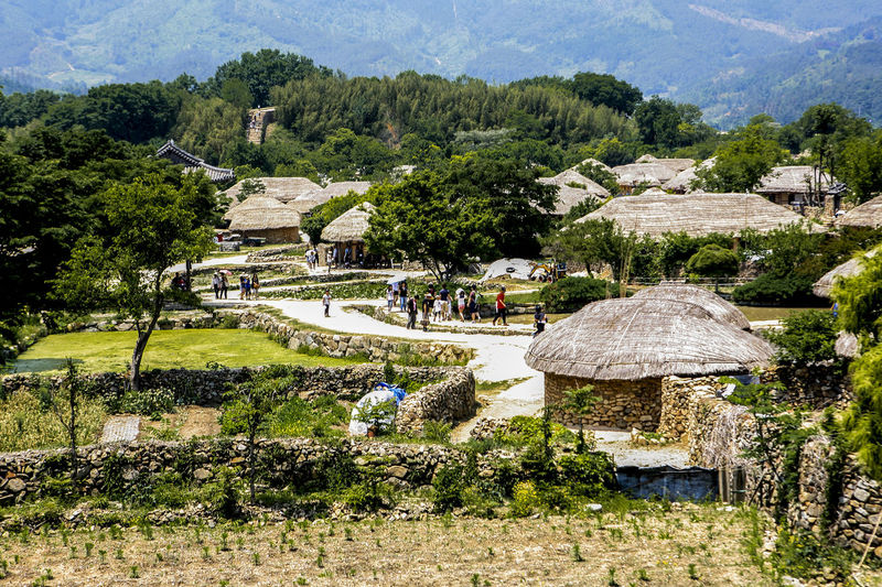 Ancient Civilization Exploring Famous Place Forest Mountains Old House Rural Landscape Suncheon Thatched House Trees Tropical Climate Vacation Voyage