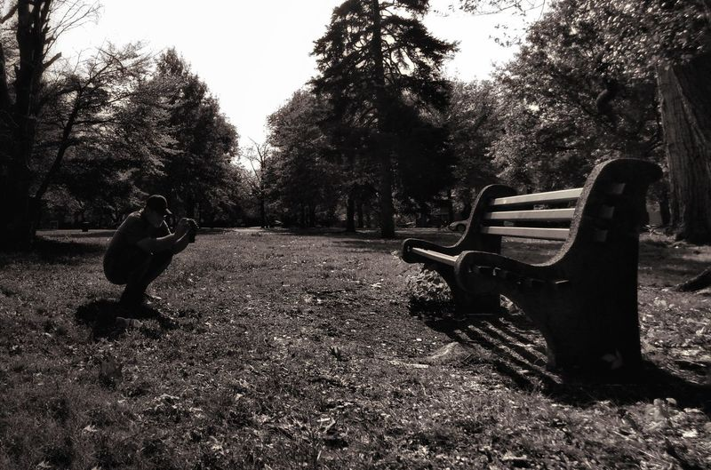 Tree Day Outdoors Park - Man Made Space Nature One Man Man Taking Picture Man Taking Photo Small Man In A Big World Small Man Perspective Small Person Perspective Man Taking Picture Of Bench Bench Black And White Photography Black And White Collection  Nature Collection Black And White Collection  Technology Low Angle View Love Of Photography Sky Perspectives On Nature Rethink Things Second Acts Be. Ready. An Eye For Travel Love Yourself