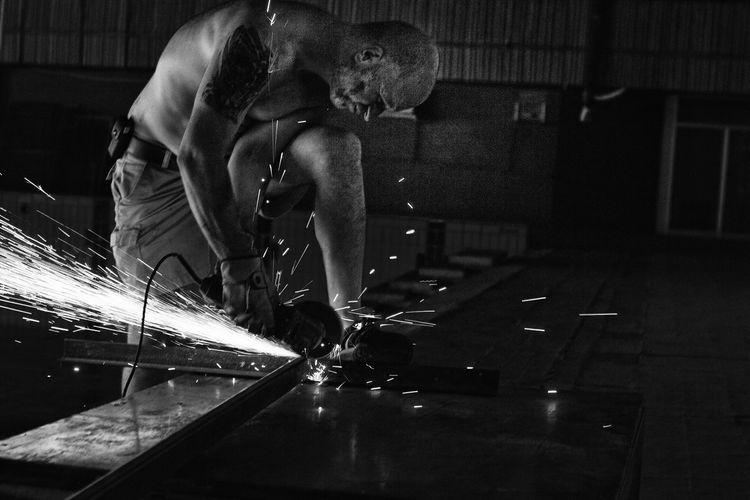 Body & Fitness City Life Cutting] Illuminated Moving Parts Physics Psychology Skill  Skin Sparks Work Working