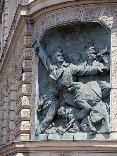 Bronze Relief, Andrassy Street Art Bronze Relief Bronze Sculpture Budapest Building Exterior Building Feature Caoital City Composition Fighting For Freedom Full Frame Human Representation Hungarian Folklore Hungary Male Likeness No People Outdoor Photography Representing War Sculpture Soldiers Sunlight And Shadow Travel Destination War