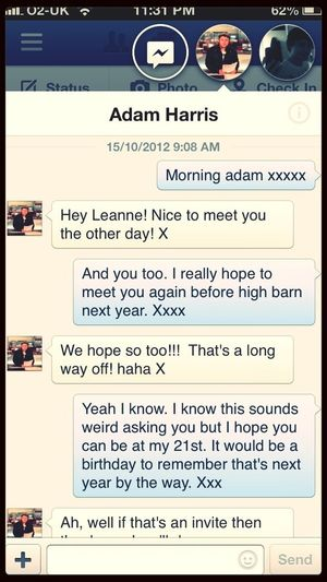 The first time I messaged Adam from a band called Rubylux. Xxxx