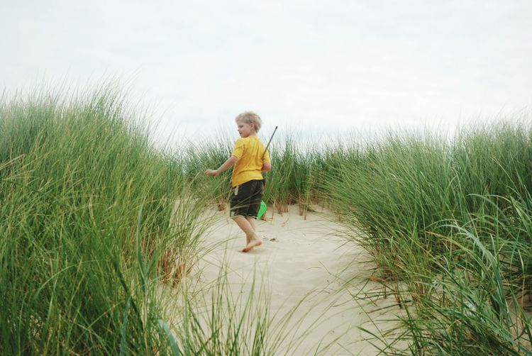 Full length of boy amidst grass at beach against sky