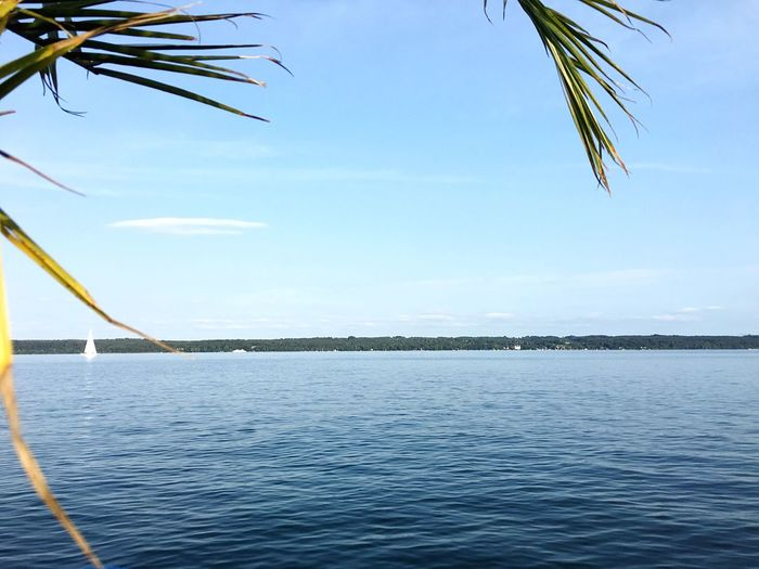 Last Summer Day Sea Water Tranquil Scene Tranquility Nature Outdoors No People Day Scenics Beauty In Nature Rippled Sky Palm Tree Tree Lake Of Starnberg Nautical Vessel
