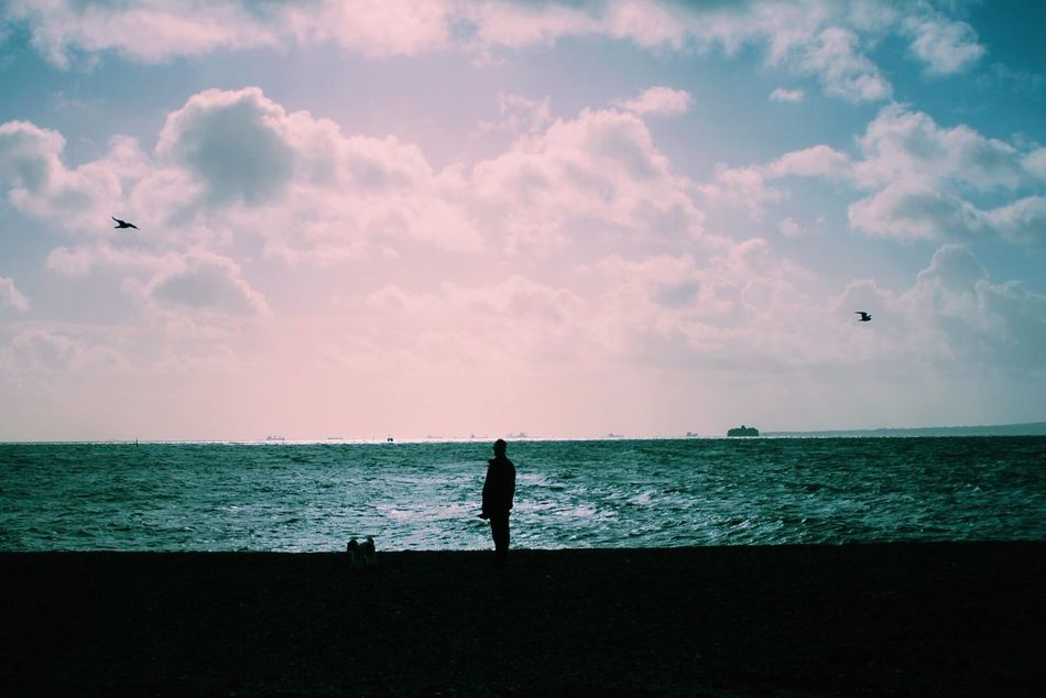 Man and dog Canon500d Beach Southsea Lofi Minimalism Minimal Portsmouth Seaside