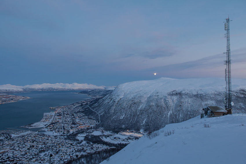 Arctic City Cold Fjord Frozen Frozen Idyllic Norway Outdoors Polar Night Residential District Snow Snow Covered Snowcapped Town Tranquil Scene Tranquility Transmitter Troms Tromsø Winter Winter