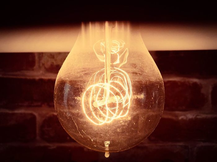 #iPhone #shotoniphone Illuminated Electricity  Lighting Equipment Light Bulb Close-up Bulb Glowing Filament Indoors  Technology No People Focus On Foreground