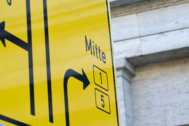 German yellow sign on approaches to junctions (lanes) to Mitte Directional Sign Mitte Direction Directional Directional Arrows Directional Signs Information Information Sign