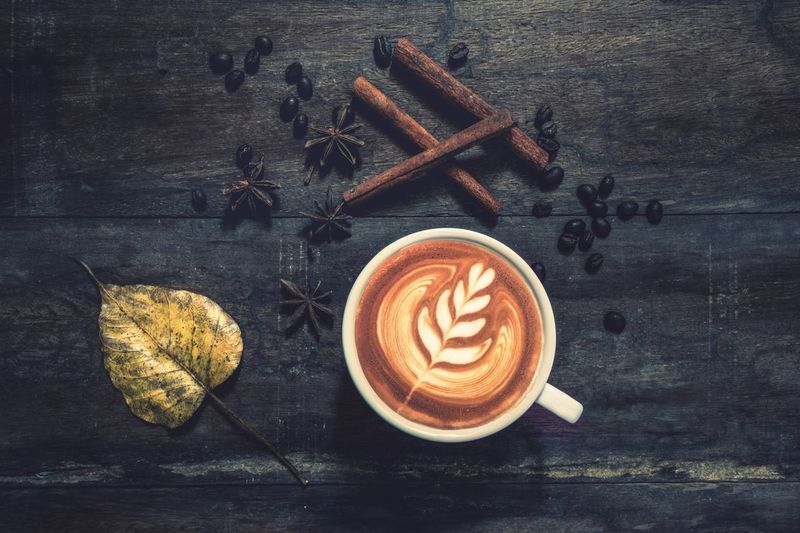 Latte art coffee on wood Hot Drink Latte Art Food And Drink Coffee Still Life Drink Coffee Cup Refreshment Coffee - Drink Cup Mug Table Hot Drink Food Frothy Drink Directly Above Cappuccino Freshness Creativity Indoors  Wood - Material Froth Art