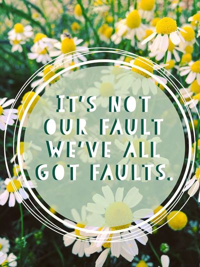 It's not our fault we've all got faults. Motivational Relatemuch Relateable Life Quotes Life Quote Quote Poster Inspirations Inspire Inspirationalquote Inspiring Life Quotes Inspirational Flowers Daisies Flowers