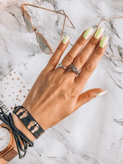 New spring nails ❤️💚 Spring Time Blogger Hand Nails <3 Nails Nail Jewelry Finger Personal Accessory Lifestyles Ring