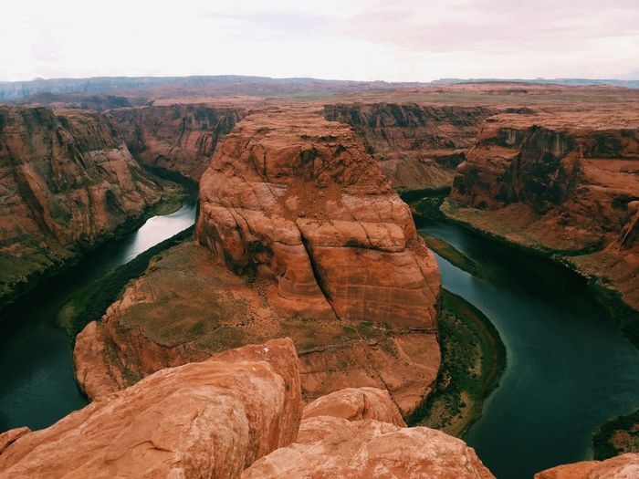 High angle view of horseshoe bend against sky