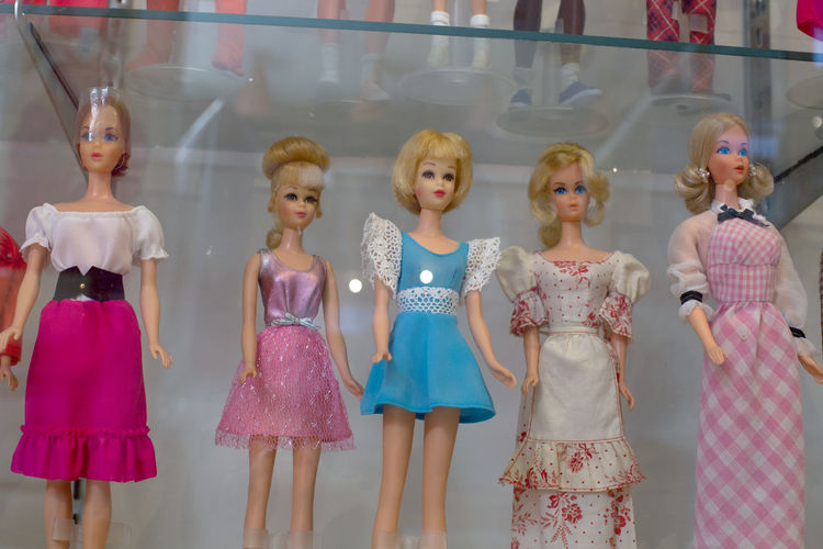 High angle view of girls standing in toys