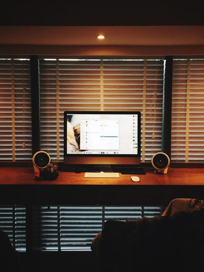 Home Decor Home Interior Cozy Speakers Window Monitor Computer Room Decor Room Taste Indoors  No People Window Blinds Technology Illuminated Shutter Lighting Equipment Architecture Arts Culture And Entertainment Table Built Structure Music Light - Natural Phenomenon Communication Glowing Furniture