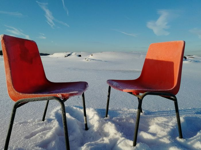 No People Outdoor Chair Cold Temperature Horizon Over Water Winter Snow Seat