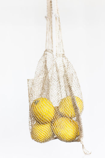 Handmade Hemp String Bag. Studio Shot White Background Indoors  Cut Out Food And Drink No People Freshness Food Close-up Yellow Still Life Raw Food Copy Space Hanging Plant Nature Dry Corn Wire Minimal Textile Rope Style Textured  Handcraft Hemp Bag Craft String Bag Fashion Eco Knitting Lemon
