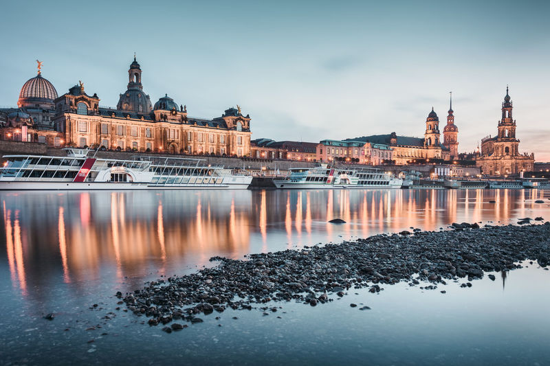 Cathedral by elbe river during sunset