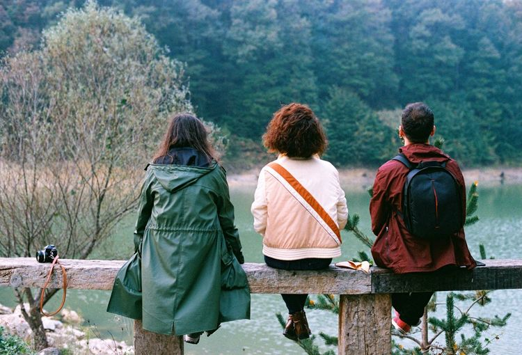 Rear view of friends sitting on wooden railing