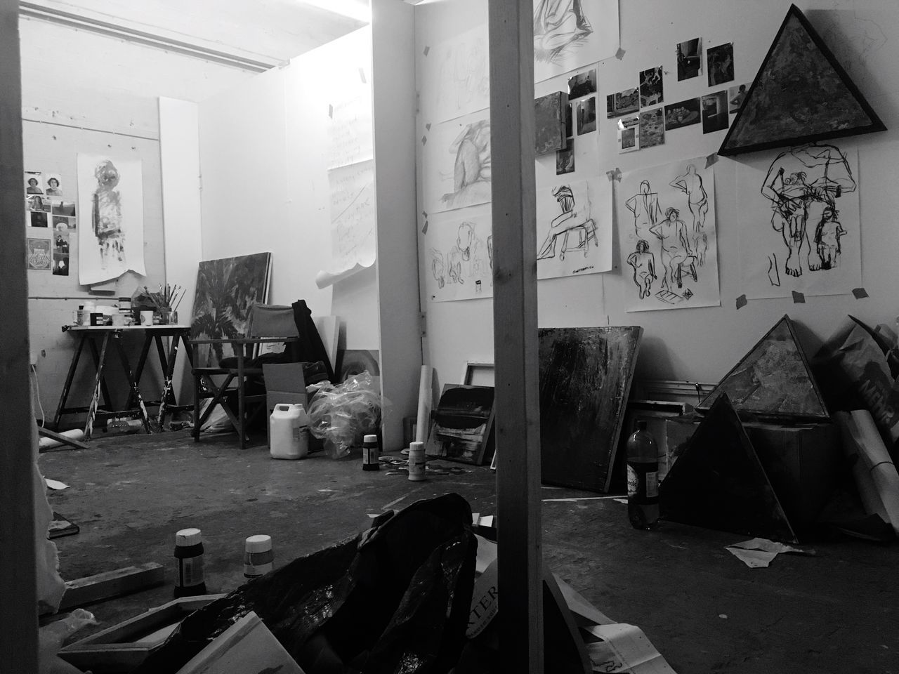 art and craft, chair, indoors, table, architecture, no people, paper, day, art studio