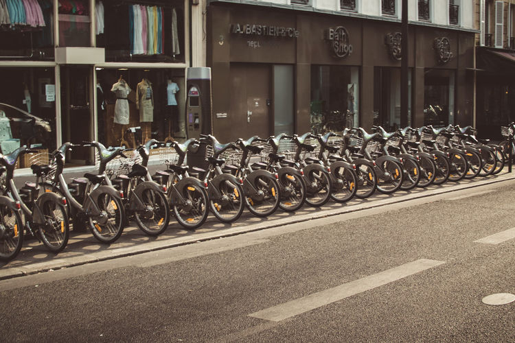 Bicycles parked on road