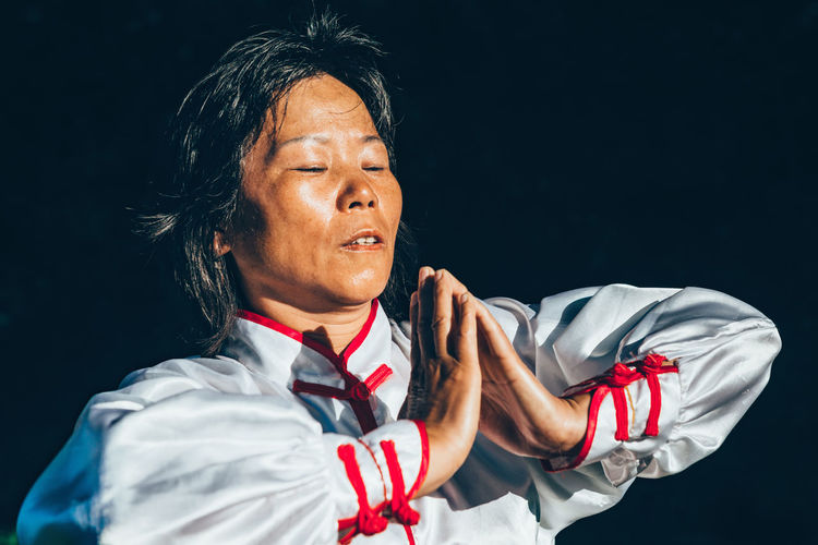Tai Chi in Forest Tai Chi Tai-chi China Chinese Chinese Woman Tai Chi Chuan Tai Chi China Tai Chi Woman Tai Chi Senior Chi Gong Exercise Pose Adult Relaxation Peace Relax Training Zen Vitality Mind  Spiritual Soul Harmony Energy Forest