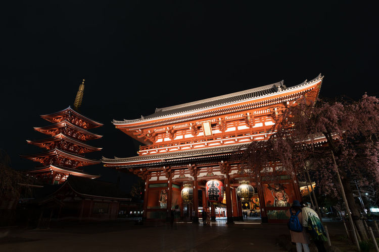 Architecture Built Structure Building Exterior Night Illuminated Travel Destinations City Travel The Past Sky History Group Of People Copy Space Building Low Angle View Place Of Worship Real People Religion Tourism Spirituality Japan Tokyo Asakusa