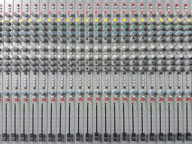 Full Frame Indoors  Backgrounds Close-up Sound Mixer Technology Headphones Adjust Audio Board Colorful Electronics  Mixer Mixing Music Sound Volume Studio Radio Objects Electronics  Classic