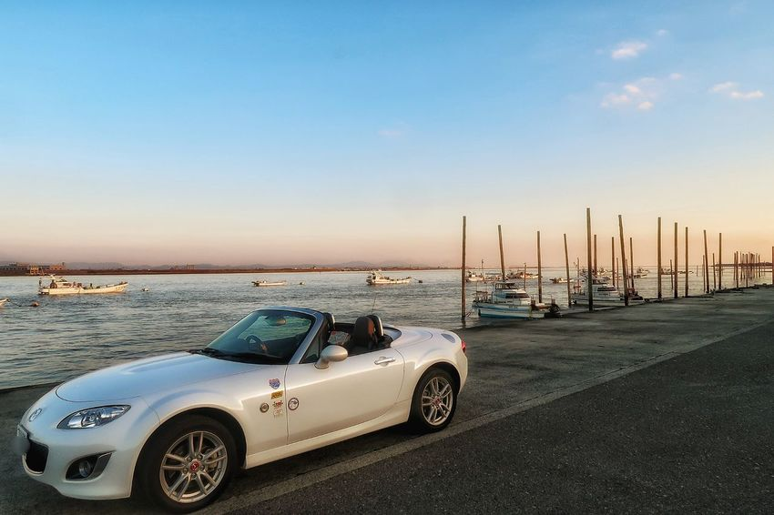 筑後川 川 空 海 漁船 月 月見 マツダ ロードスター Mazda Roadster MX-5 Mx5 Miata Miata Sunset Car Transportation Beach Horizon Over Water Clear Sky Sky Mode Of Transport Water Riverside Autumn