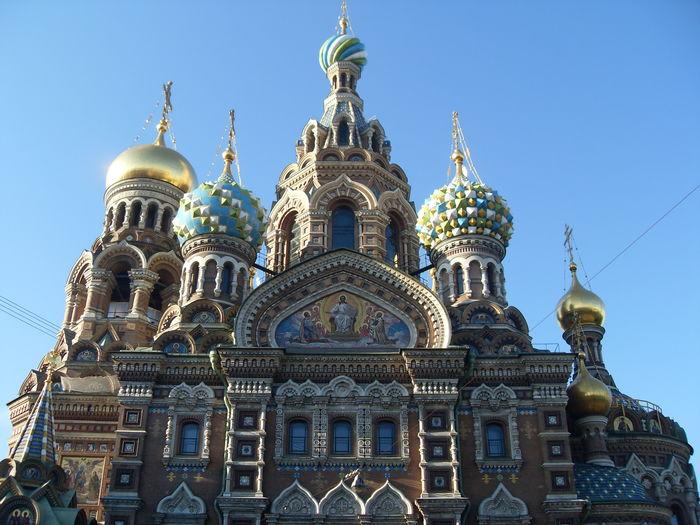 Church of the savior on blood against clear blue sky