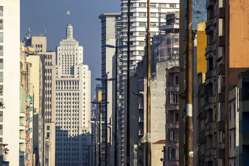 Row of residential and office buildings seen in perspective in downtown sao paulo, brazil