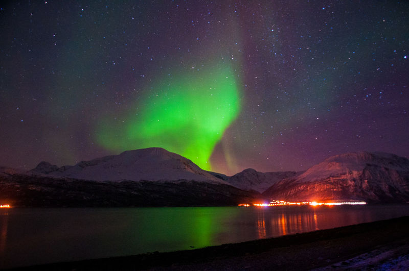 Astronomy Aurora Aurora Borealis Beauty In Nature Galaxy Green Color Illuminated Lake Mountain Mountain Range Nature Night No People Outdoors Reflection Scenics Sky Star - Space Tranquil Scene Tranquility Water