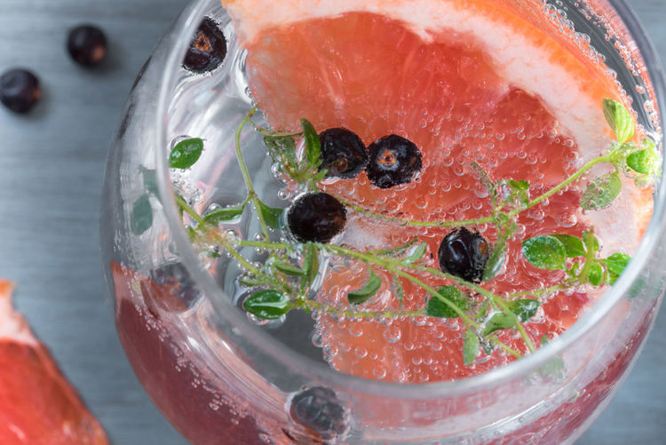 Grapefruit Juniper Berry Gin and Tonic Adult Alcohol Berries Beverage Cheers Citrus  Close-up Cocktail Drink Drinking Glass Grapefruit Juniper Libation
