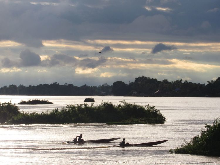 Mekong River Twilight Beauty In Nature Cloud - Sky Don Det Dusk Laos Nature Nautical Vessel Outdoors Peaceful River Rowing Sky Slow Life Slow Time Transportation Water