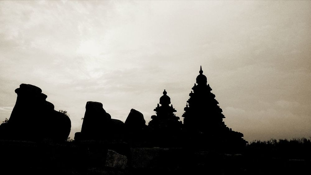 Architecture Outdoors Sky Religion Place Of Worship Protected Monument Architecture Travel Destinations No People Day Mahabalipuram, India Shore Temple Silhouette Welcome To Black