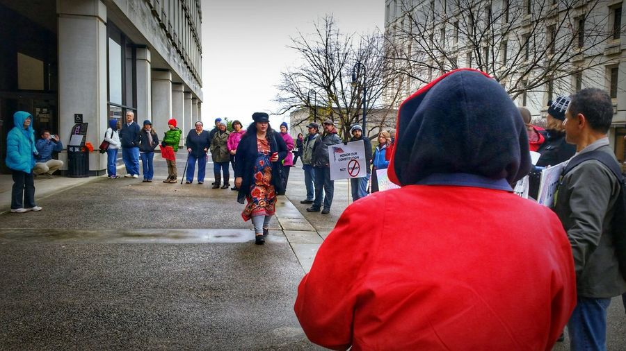 Anti-Trump Rally at the State House 12/19/16 (in HDR, 14/14) -- see the non-hdr version here: @simplepoetography. Hdr_Collection Hdr Edit Protest Protesters Protesting Rally People Real People Large Group Of People Men Women City Day Outdoors Crowd Participant Photojournalism Urban Nature Teamwork Gloomy Day December Urban Gloomy Weather Signs