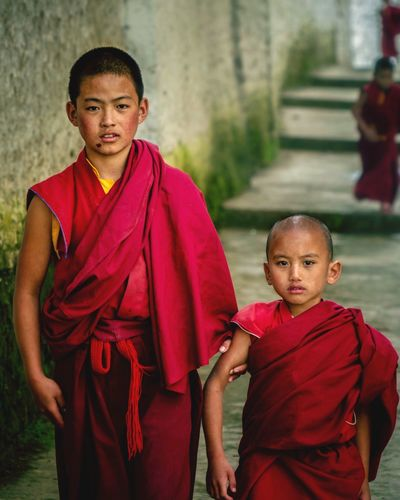 Arunashal Bokeh Photography Bokeh Buddhist Monks Monks Tibetan  Tibet Buddhism Buddhist Temple Buddhist Tawang Religion Boys Robe Red Real People Portrait Looking At Camera Spirituality Child Two People Childhood Togetherness Men Day Student Young Adult Outdoors People Adult EyeEmNewHere Press For Progress
