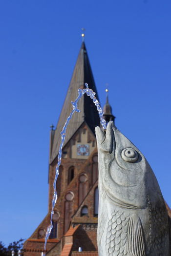 Blargh! Architecture Baltic Barth Church City Clear Sky Clock Tower Day Europe Fish Fountain Germany Holidays Low Angle View Mecklenburg-Vorpommern No People Outdoors Place Of Worship Religion Sculpture Sky Sparkling Statue Traveling Water