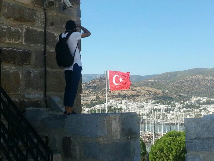 People And Places Clear Sky Built Structure Standing Full Length City Architecture Mountain Outdoors Blue Day City Life Tall - High Red Turkey Flag Türkiye Tourism