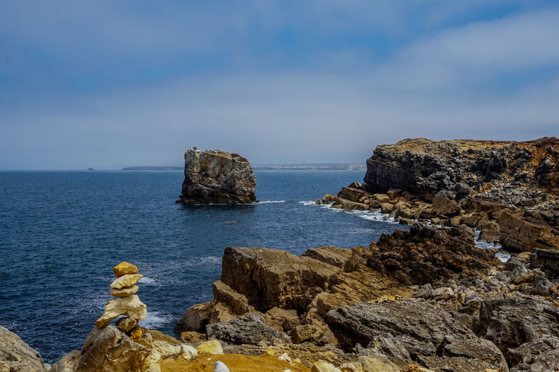 Sea Water Rock Rock - Object Solid Sky Rock Formation Scenics - Nature Beauty In Nature Tranquil Scene Tranquility Nature Horizon Day Horizon Over Water Cloud - Sky Land No People Non-urban Scene Outdoors Stack Rock Rocky Coastline Eroded