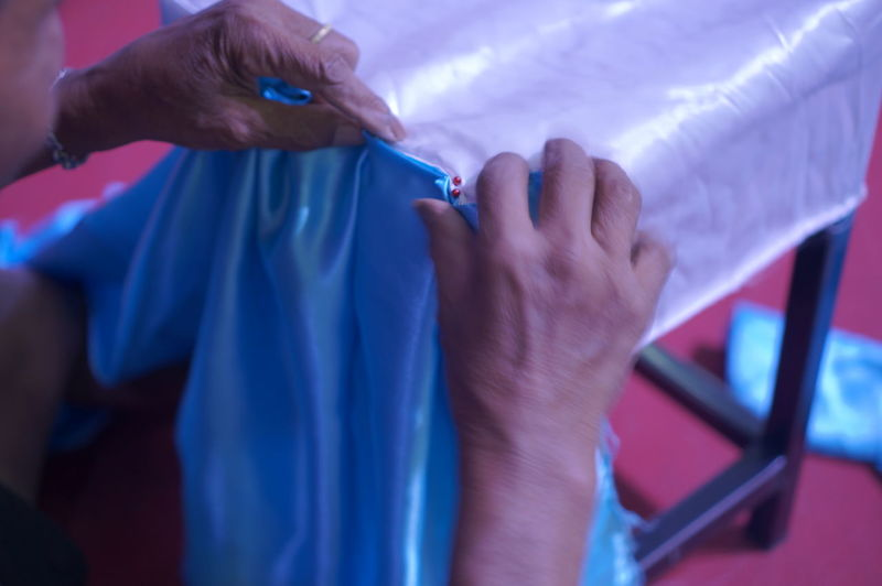 Cropped image of hand stitching