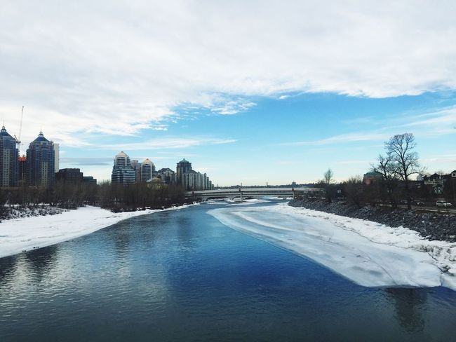 Blue Sky Beautiful Day River Riverbank View From A Bridge Amazing Day Bow River Urbanphotography Urban Nature Winterscapes Frozen Nature